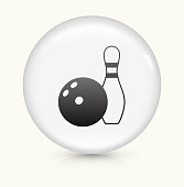 Bowling Ball and Pin Icon on simple white round button. This 100% royalty free vector button is circular in shape and the icon is the primary subject of the composition. There is a slight reflection visible at the bottom.
