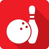 Vector illustration of a red bowling ball and pin icon in flat style.
