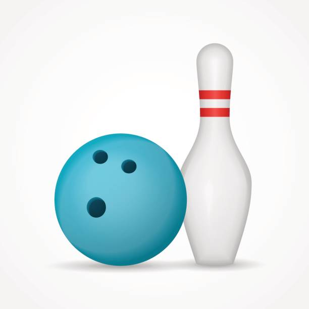 Bowling ball and pin isolated on white background. vector art illustration