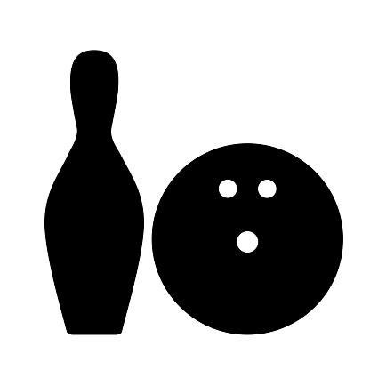 Bowling ball and pin.
