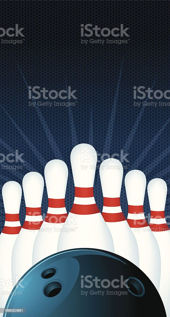 Bowling Ball and Pins Background royalty-free bowling ball and pins background stock vector art & more images of backgrounds