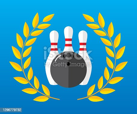 istock Bowling Ball and Pins Laurel Icon Flat 1296779732