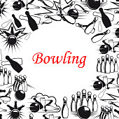 Bowling sport game poster with ball and pins frame. Bowling strike, skittle and ball on lane black and white banner, decorated with comics book explosion and cloud for sport club design