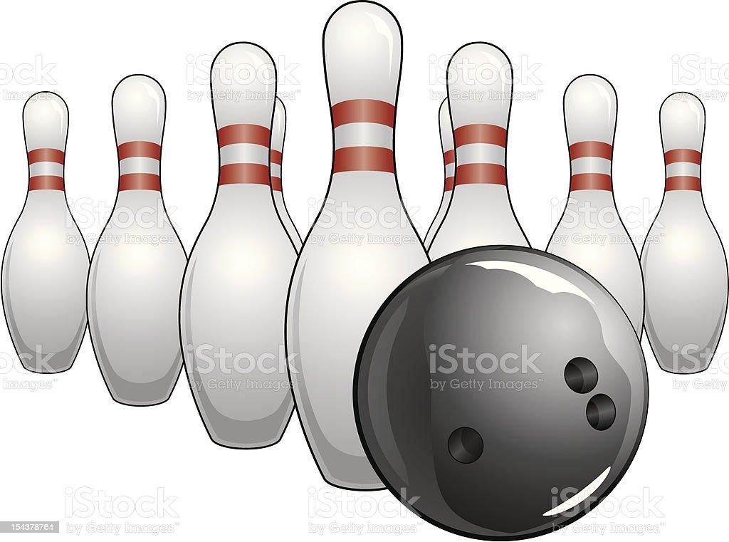 Illustration of a black bowling ball and bowling pins.