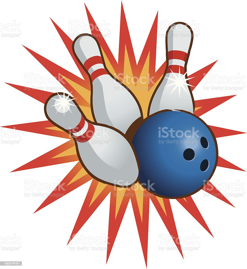Bowling ball and pins vector art illustration