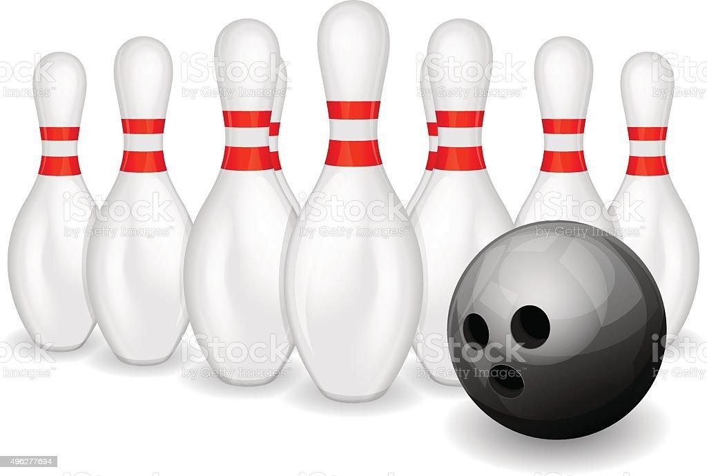 Row of bowling pins and black bowling ball