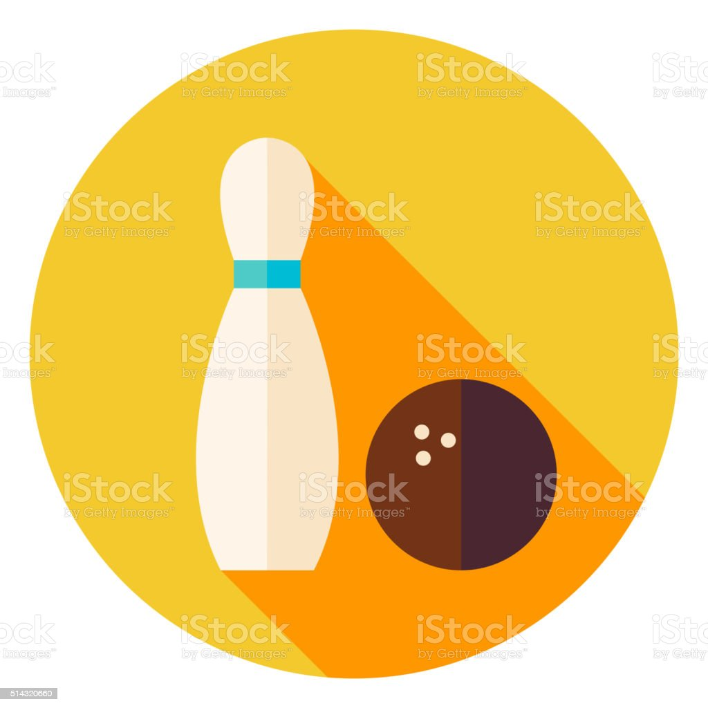 Bowling Ball and Skittle Circle Icon - Royalty-free Abstract stock vector