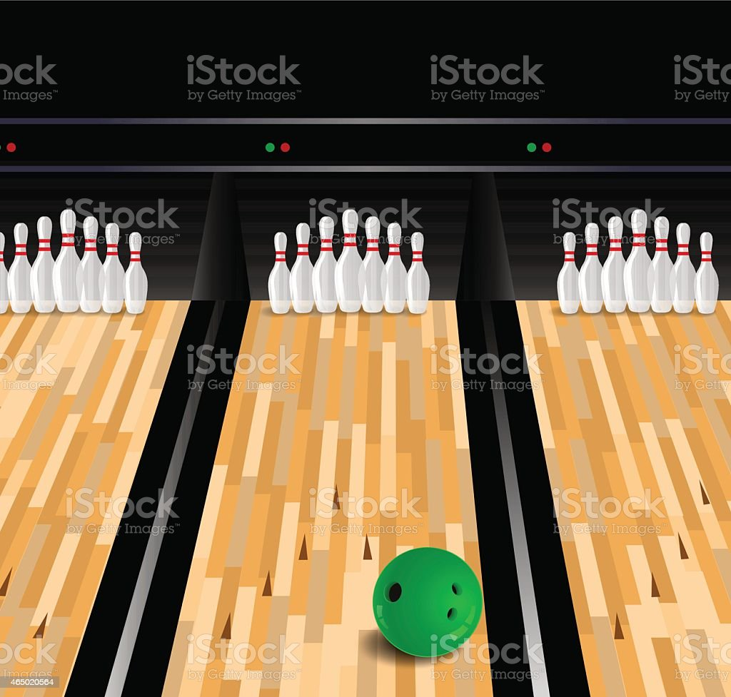 Bowling ball and skittle on wooden floor vector art illustration