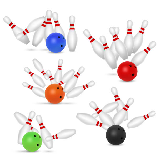 Bowling ball and skittles set, vector realistic illustration vector art illustration