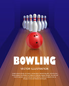 Bowling ball and skittles.