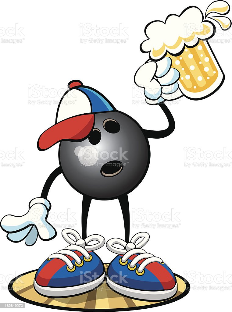 Bowling Ball Character - Happy Hour royalty-free stock vector art