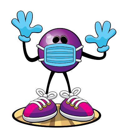 Bowling Ball character with virus mask