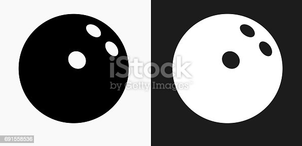 Bowling Ball Icon on Black and White Vector Backgrounds. This vector illustration includes two variations of the icon one in black on a light background on the left and another version in white on a dark background positioned on the right. The vector icon is simple yet elegant and can be used in a variety of ways including website or mobile application icon. This royalty free image is 100% vector based and all design elements can be scaled to any size.