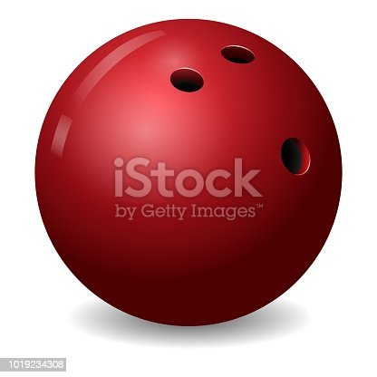 istock Bowling ball icon, realistic style 1019234308