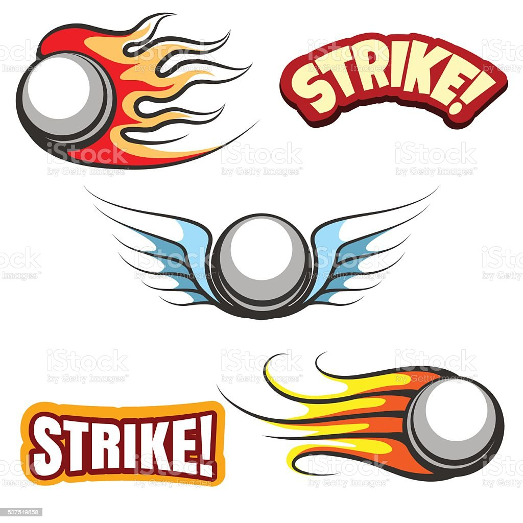 Bowling ball icons vector art illustration