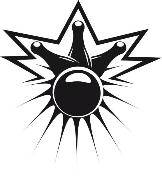 Bowling ball knocking down three pins vector art illustration