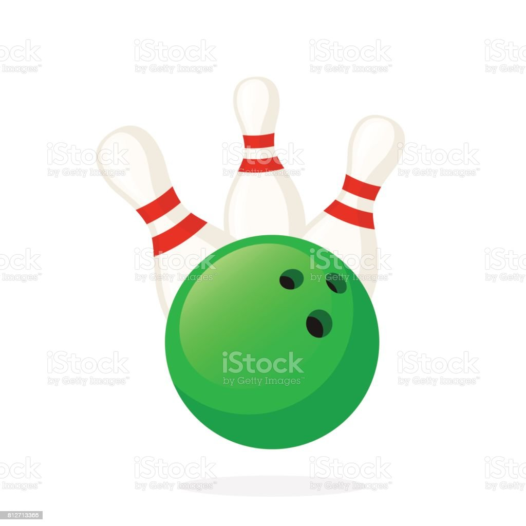 Bowling ball knocks down pins vector art illustration