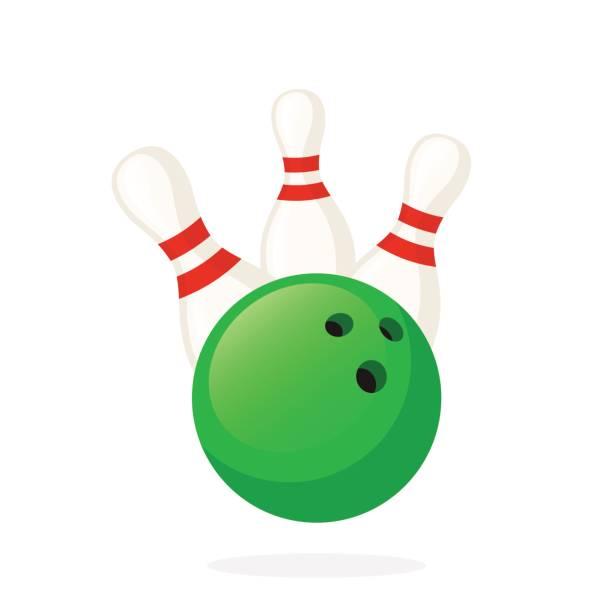 Bowling ball knocks down pins vector art illustration