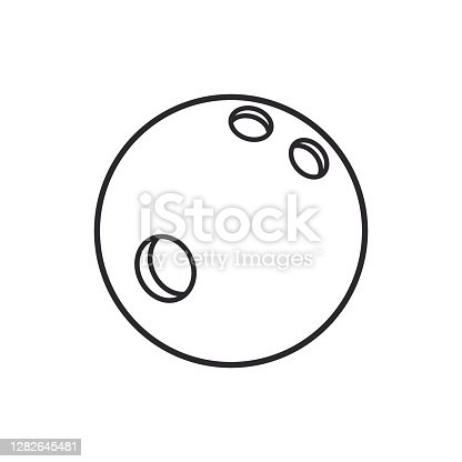 istock Bowling ball line art vector icon for sports apps and websites. 1282645481