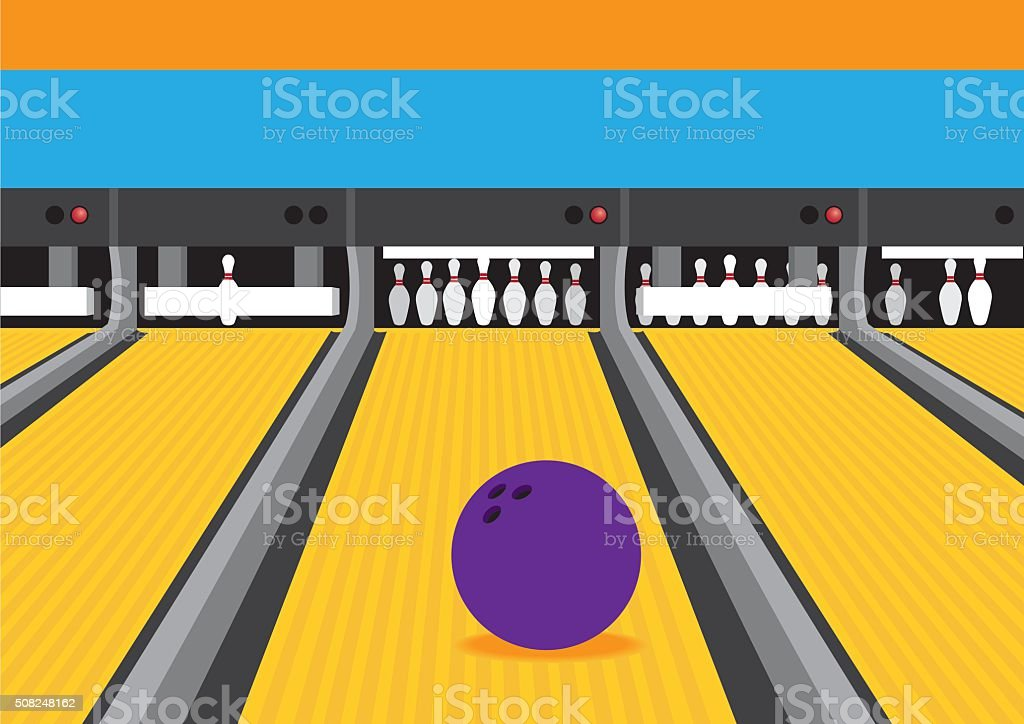 Bowling Ball on Lane Vector Illustration vector art illustration