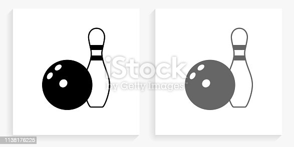 Bowling Ball & Pin Black and White Square Icon. This 100% royalty free vector illustration is featuring the square button with a drop shadow and the main icon is depicted in black and in grey for a roll-over effect.