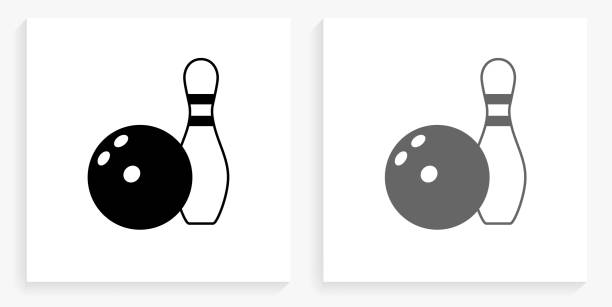 Bowling Ball & Pin Black and White Square Icon vector art illustration