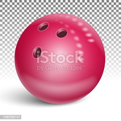 Bowling ball red. 3d realistic vector illustration. Isolated on transparent background.