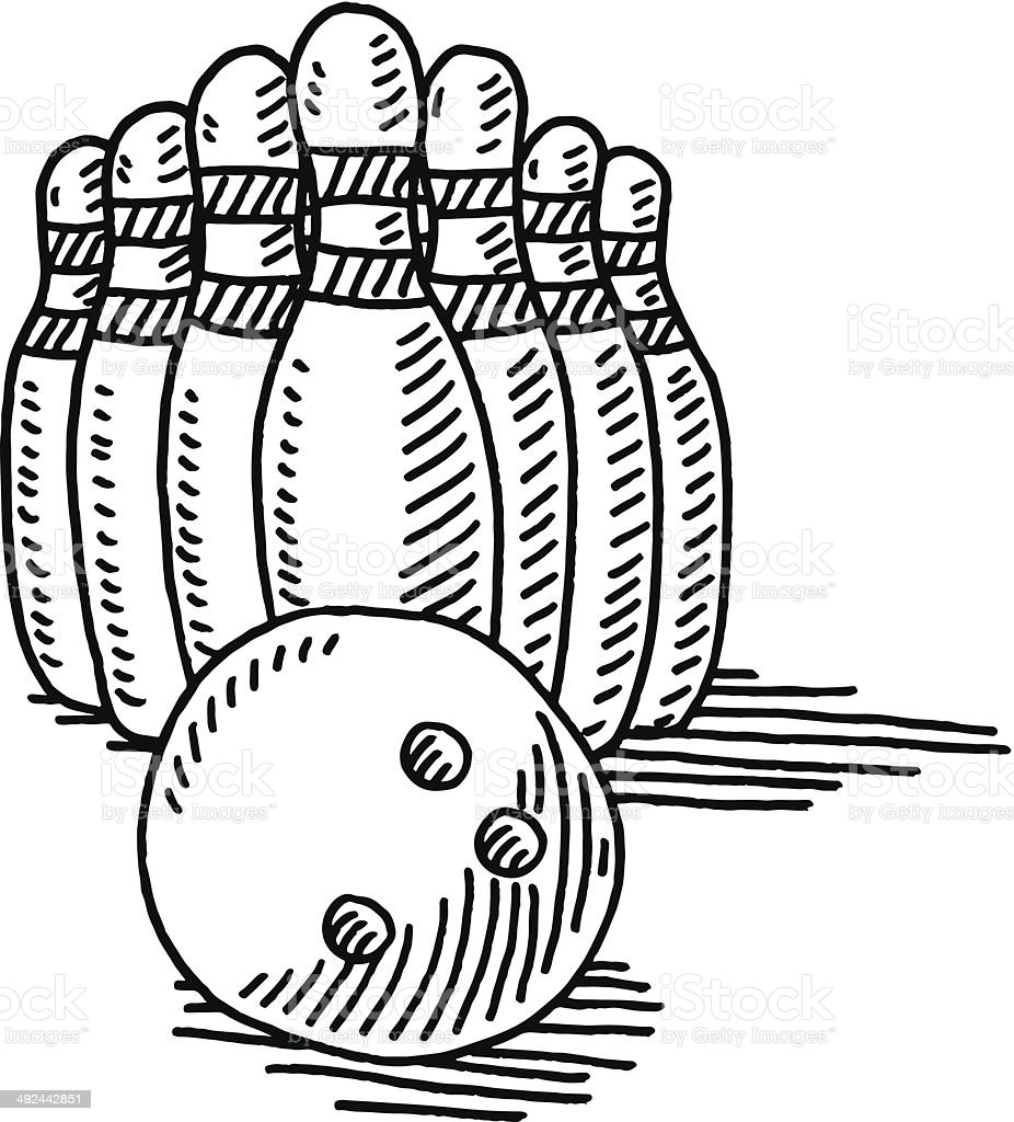 Hand-drawn vector drawing of a Bowling Sport Symbol with a Bowling...