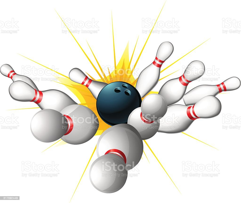 An illustration of a bowling ball getting a strike with bowling pins...