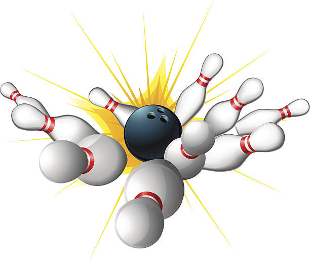 Bowling ball strike vector art illustration