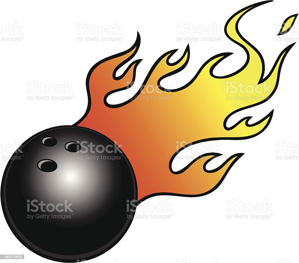 Bowling Ball with Flames royalty-free stock vector art