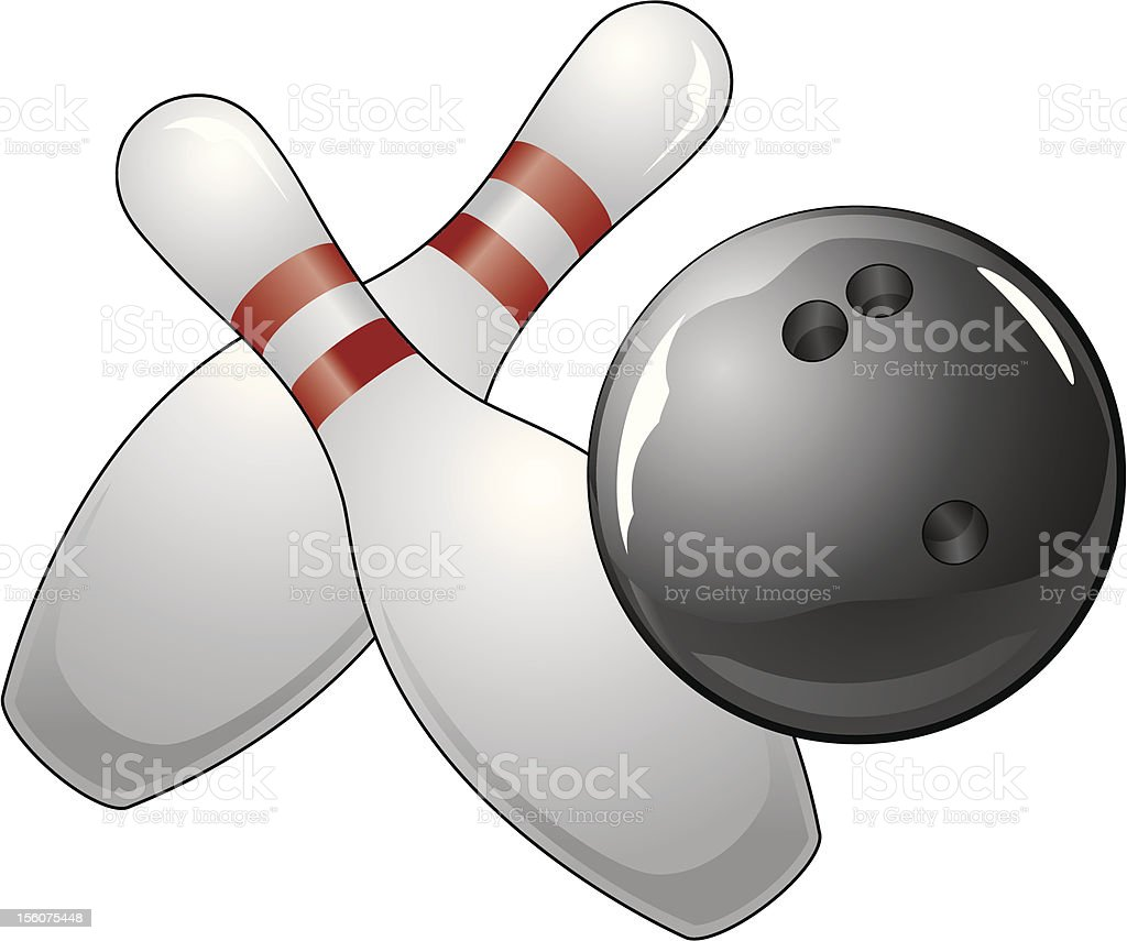 Bowling Ball With Two Pins royalty-free stock vector art