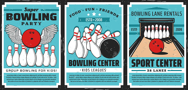Bowling balls and pins on alley