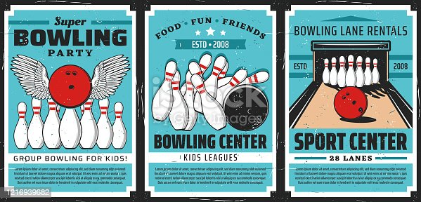 Bowling alley with balls and pins, vector posters. Bowling sport center lanes with skittles strike and winged ball. Retro posters of sporting competition and leisure activity