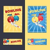Bowling balls and pins with flags on a yellow and blue background poster and flyer