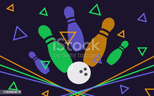 istock Bowling banner, poster, flyer or label design elements. Horizontal seamless multicolor background. Abstract vector illustration of kegling game. Colorful bowling ball and pins. 1293660679