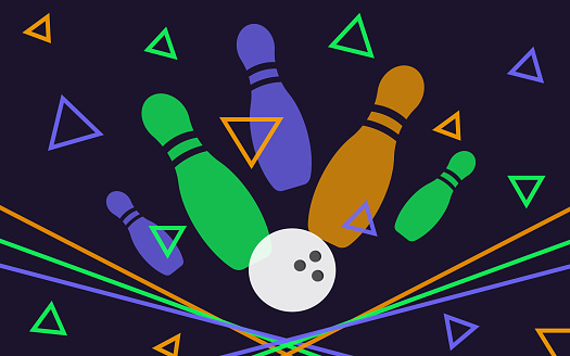 Bowling banner, poster, flyer or label design elements. Horizontal seamless multicolor background. Abstract vector illustration of kegling game. Colorful bowling ball and pins.