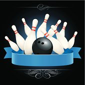Tenpin bowling pins and ball with a blue ribbon banner and motif scroll design.