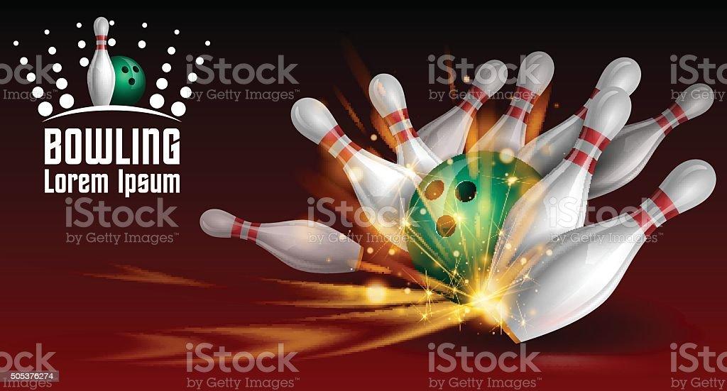 Bowling banner vector art illustration