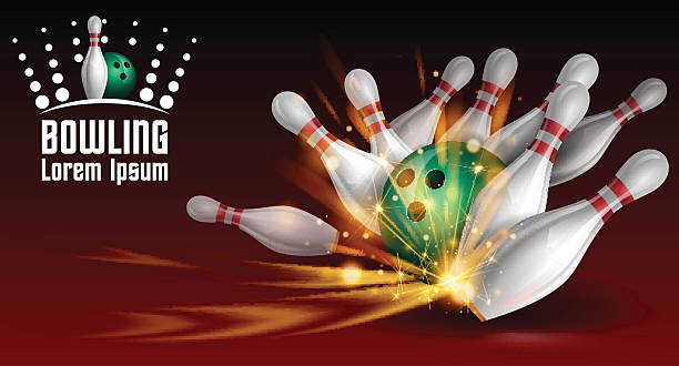 Bowling banner Bowling banner in vector ten pin bowling stock illustrations