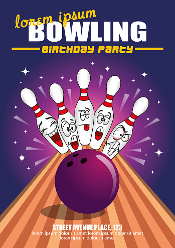 Bowling Birthday Party Cartoon Invitation Poster Template