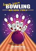Vector Illustration of a Bowling Birthday Party Cartoon Invitation Poster Template