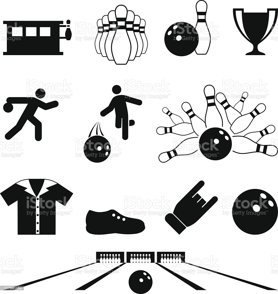 bowling black and white royalty free vector icon set vector art illustration