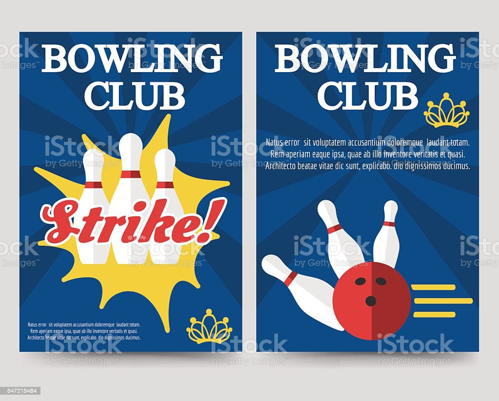 Bowling brochure flyer template set vector art illustration