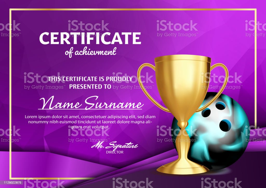 Bowling Certificate Diploma With Golden Cup Vector. Sport Award Template. Achievement Design. Honor Background. A4 Horizontal. Illustration