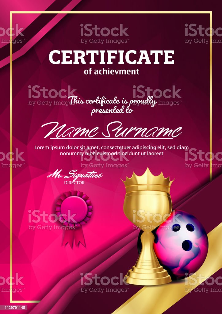 Bowling Certificate Diploma With Golden Cup Vector. Sport Award Template. Achievement Design. Honor Background. A4 Vertical. Illustration