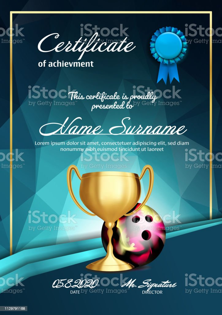 Bowling Certificate Diploma With Golden Cup Vector. Sport Graduation. Elegant Document. Luxury Paper. A4 Vertical Championship Illustration