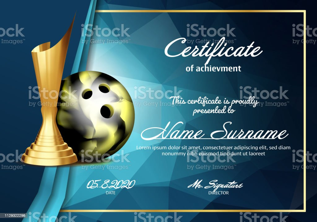 Bowling Certificate Diploma With Golden Cup Vector. Sport Vintage Appreciation. Modern Gift. Print Blank. A4 Horizontal. Event Illustration