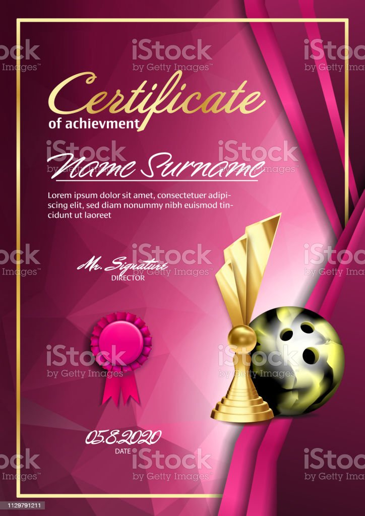 Bowling Certificate Diploma With Golden Cup Vector. Sport Vintage Appreciation. Modern Gift. Print Blank. A4 Vertical. Event Illustration