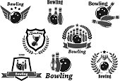 Bowling championship or contest award vector icons